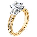 Scott Kay 19k Gold .87ct Princess Cut Vintage Diamond Setting