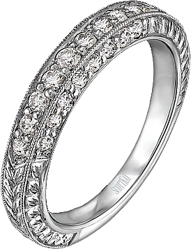Scott Kay 3 Sides Of Pave Set Diamond Wedding Band B1135RD20