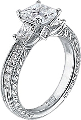 Scott Kay .87ct Vintage Style Princess Cut Engagement Ring