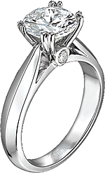 This image shows the setting with a basket made for a 1.75ct round brilliant diamond. The setting can be ordered to accommodate any shape/size diamond listed on the setting details section below.