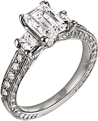 Scott Kay Emerald Cut Engagement Ring w Pave Diamonds .57ct tw