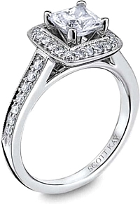 Scott Kay Pave Milgrain Diamond Engagement Ring