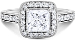 This image shows the setting with a basket made for a 1.00ct princess cut diamond.