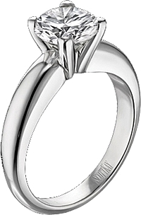 Scott Kay Solitaire Engagement Ring w/ Think Band