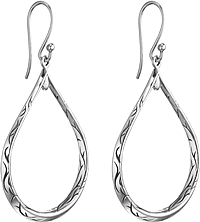 Scott Kay Sterling Silver Cypress Engraved Tear Drop Earring