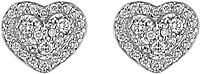 Scott Kay Sterling Silver Diamond Heart Studs