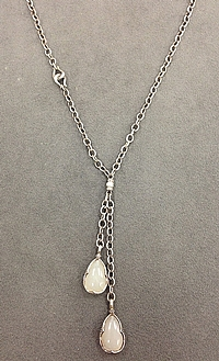Scott Kay Sterling Silver White Moonstone Drop Necklace- 26""