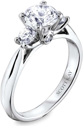 this image shows the setting with a 100ct round brilliant cut center diamond the - Scott Kay Wedding Rings