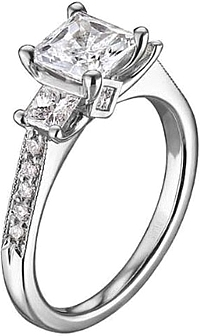 scott kay three stone diamond engagement ring - Scott Kay Wedding Rings
