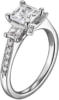 Scott Kay Three Stone Diamond Engagement Ring