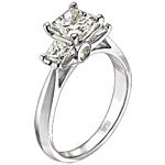 Scott Kay Three Stone Princess Cut Diamond Engagement Ring .58ct tw