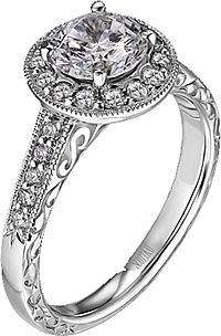 Scott Kay Vintage Collection Engagement Ring with Engraving and Milgrain Detail