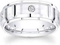 Segmented Men's Diamond Wedding Band-8mm