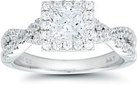 Signature Pave Twist Shank Diamond Engagement Ring