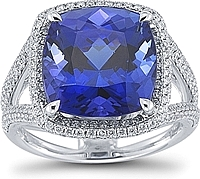 Simon G 18K Tanzanite Ring With Pave Diamond Halo And Split Shank