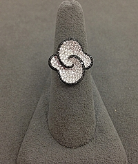 Simon G 18k White Gold Black & White Diamond Ring