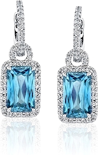 Simon G Aquamarine Earrings with Pave Diamonds