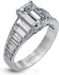 Simon G Baguette Diamond Engagement Ring