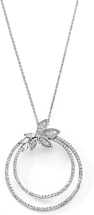 Simon G Circle Pendant with Diamond Flower