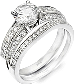 Shown with the matching diamond engagement ring; Sold separately.