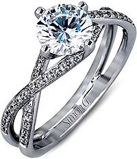 Simon G Criss Cross Pave Engagement Ring