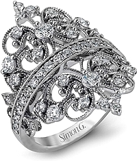 Simon G Detailed Diamond Ring