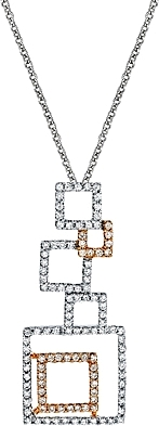 Simon G Diamond Pendant with Interlocking Squares