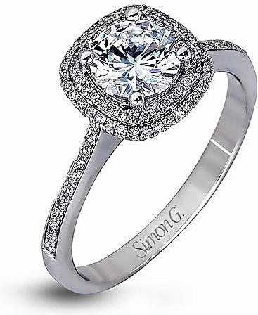Simon G Double Halo Diamond Engagement Ring Mr1676