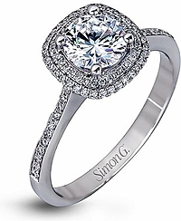 Simon G Double Halo Diamond Engagement Ring