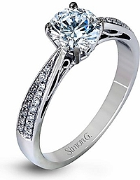 Simon G Double Row Diamond Engagement Ring