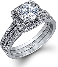 Simon G Double Row Diamond Halo Engagement Ring