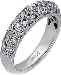 Simon G Filigree Diamond Wedding Band
