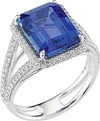 Simon G Micropave Diamond & Tanzanite Ring- 8.02ct TW