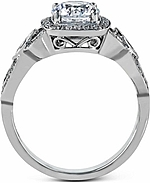 This image shows the setting with a 1ct round brilliant cut diamond. The setting can be ordered to accommodate any shape/size diamond listed in the setting details section below.