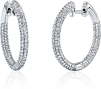 Simon G Pave Diamond Hoop Earrings