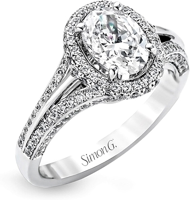 This image shows the setting with a 1.00ct oval cut diamond. The setting can be ordered to accommodate any shape/size diamond listed in the setting details section below.
