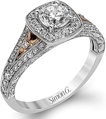 This image shows the setting with a .50ct cushion cut diamond. The setting can be ordered to accommodate any shape/size diamond listed in the setting details section below.