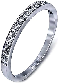 Simon G Pave Milgrain Diamond Wedding Band