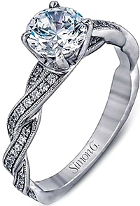 Simon G Pave-Set Diamond Twist Engagement Ring