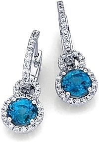Simon G Round Aquamarine Earrings with Pave Diamonds