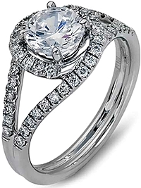 Simon G Split Shank Halo Diamond Engagement Ring