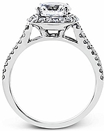 This image shows the setting with a 1.50ct round brilliant cut diamond. The setting can be ordered to accommodate any shape/size diamond listed in the setting details section below.