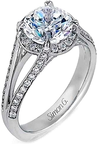 Simon G Split Shank Pave Engagement Ring