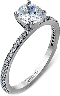 Simon G Thin Pave Diamond Engagement Ring