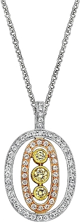 Simon G Tri-Color Pendant with Pave Diamonds