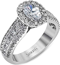 Simon G Triple Row Diamond Engagement Ring