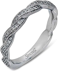 Simon G Twist Diamond Wedding Band