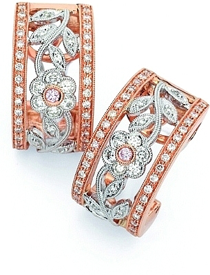 Simon G White and Rose Gold Earring with Floral Design SG ME1183 R