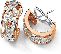 Simon G White and Rose Gold Floral Earring with Diamonds
