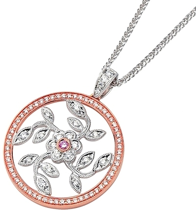 Simon g white and rose gold floral pendant with diamonds sg mp1182 r audiocablefo